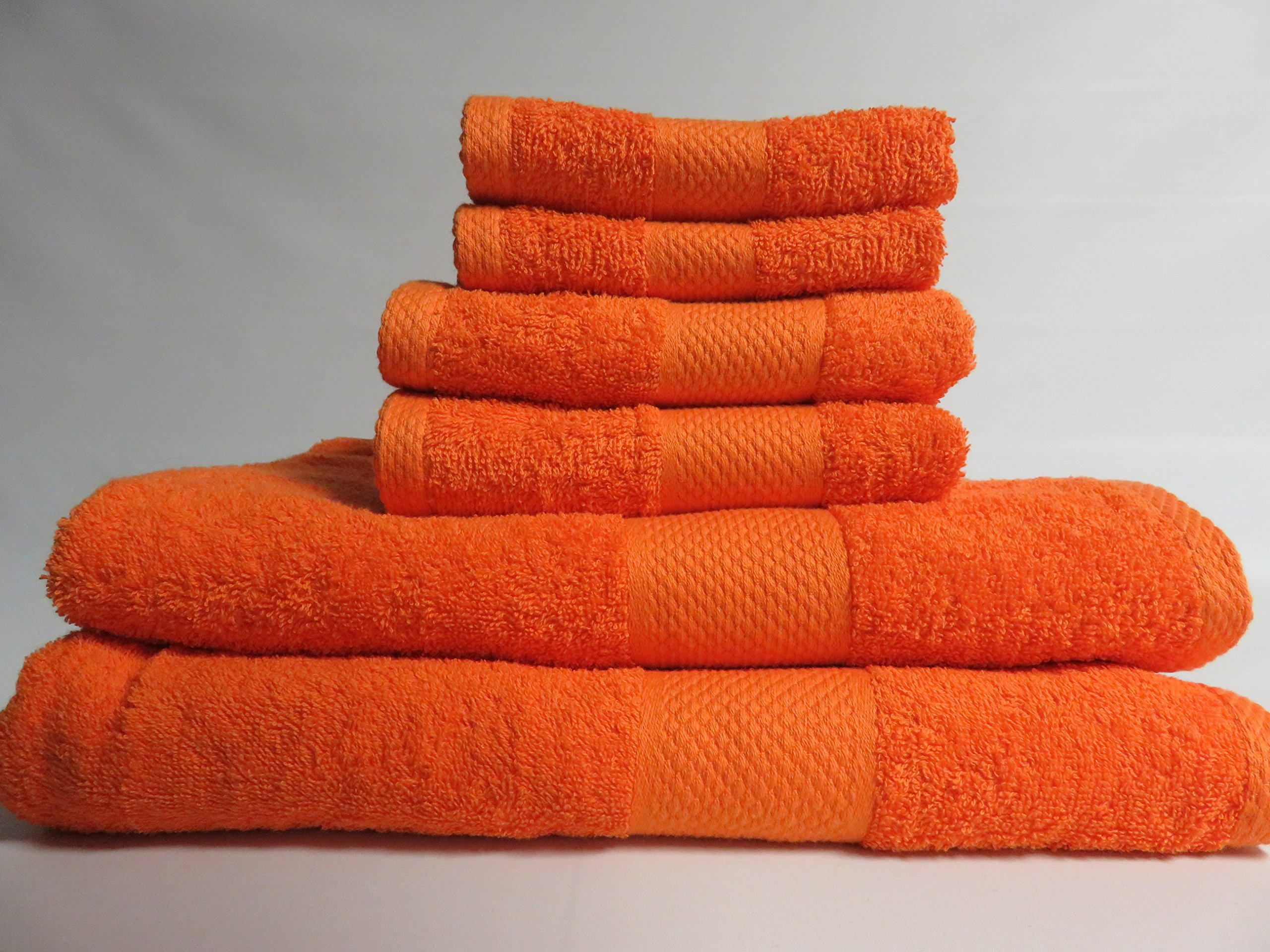 Lantrix SOFT 100% Natural COTTON 6 Piece TOWEL SET (ORANGE)