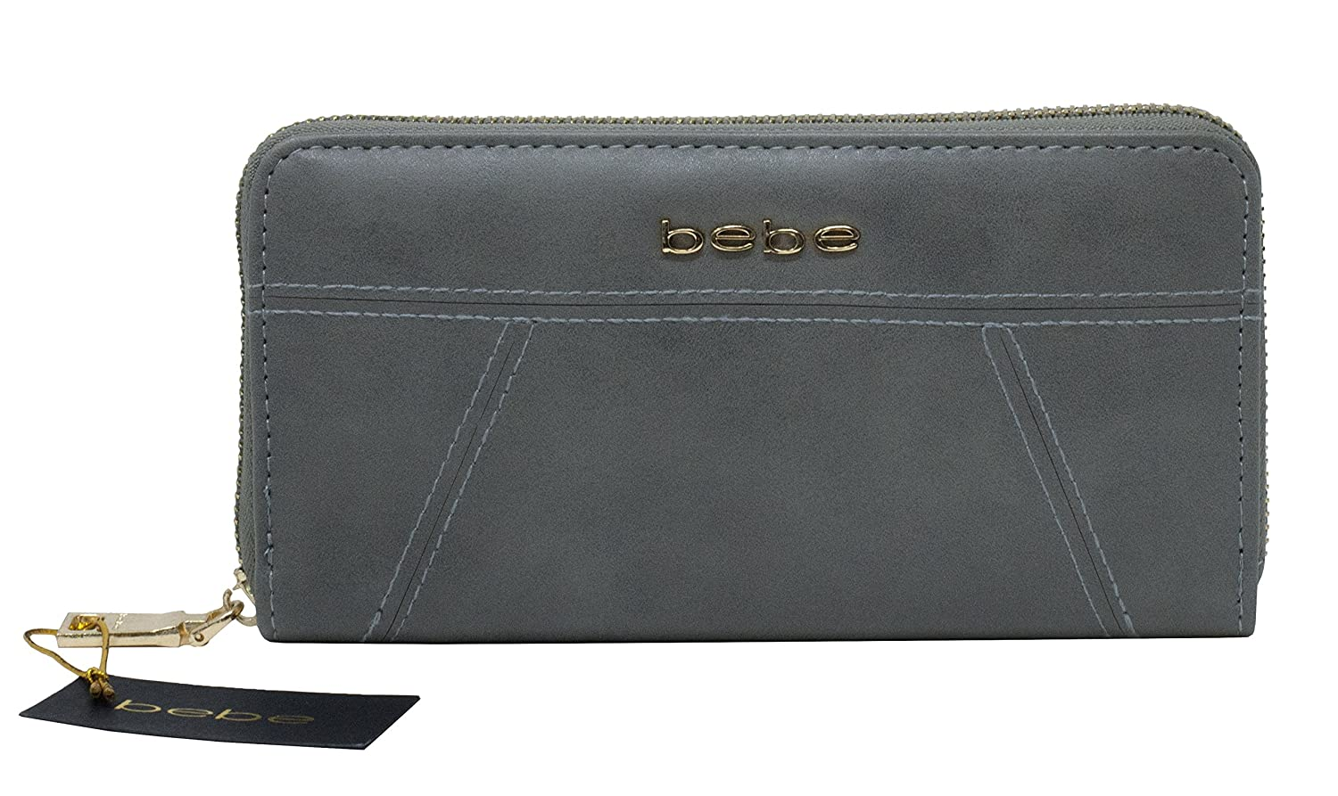 d18c12127b bebe Evelyn Zip Around Wallet (Grey) at Amazon Women's Clothing store: