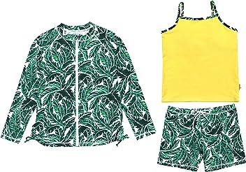 2acf514de5 SwimZip Girls UPF 50+ Long Sleeve Zipper Rash Guard, Tankini & Shorts Set -