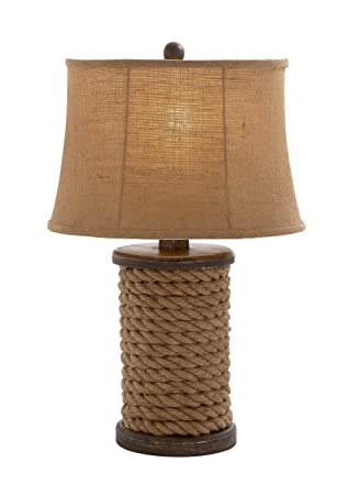 Superb Benzara Elegant Unique Styled Wood Rope Table Lamp