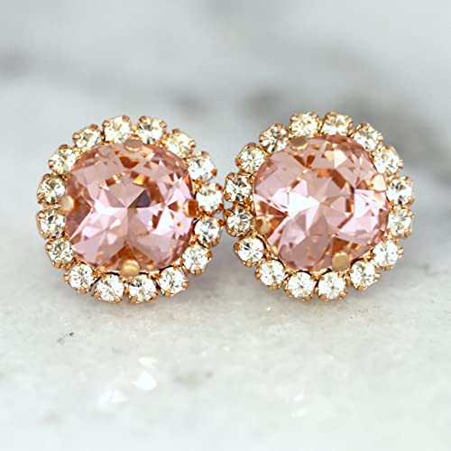 8a1948d5e Amazon.com: Handmade Bridal Blush Pink Stud Earrings, Rose Gold Swarovski  Crystal Wedding Jewelry, Bridesmaids Gifts: Handmade