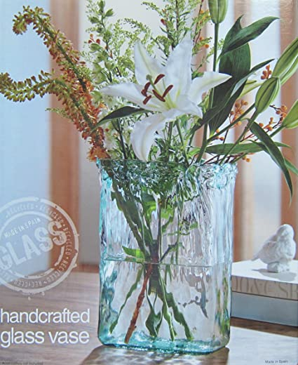 Amazon Kirkland Handcrafted Oblong Glass Vase Hand Made In