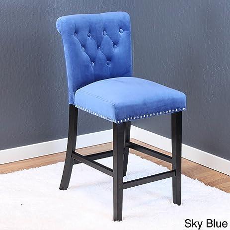Charmant Monsoon Markelo Tufted Velvet Counter Chairs (Set Of 2) Sky Blue