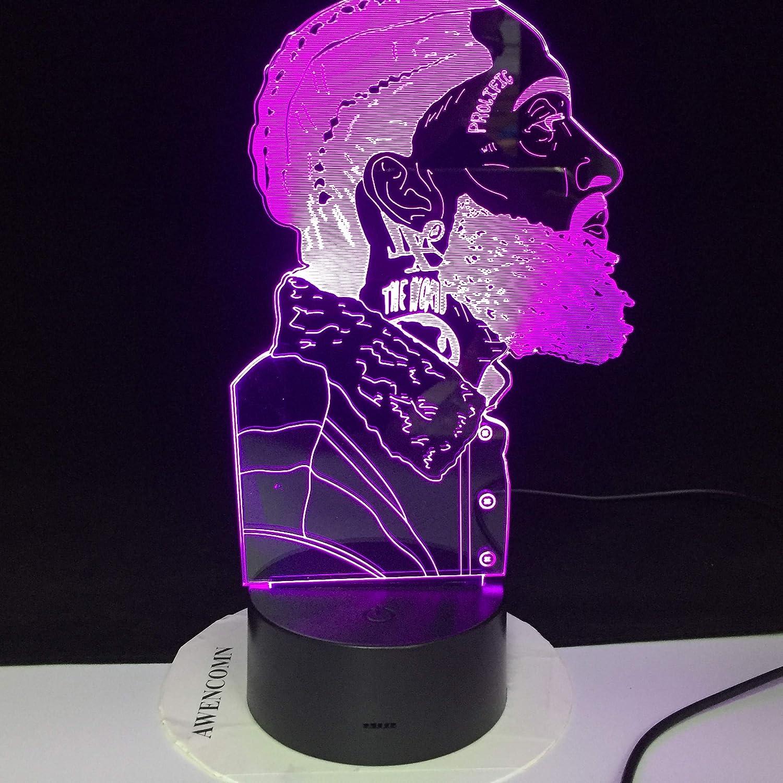 jiushixw Luz de Noche de acrílico 3D con Control Remoto Lámpara de Mesa Que Cambia de Color Mesa de música Luz de cabecera para bebé Lámpara de Mesa de Nave Espacial Lectura Americana