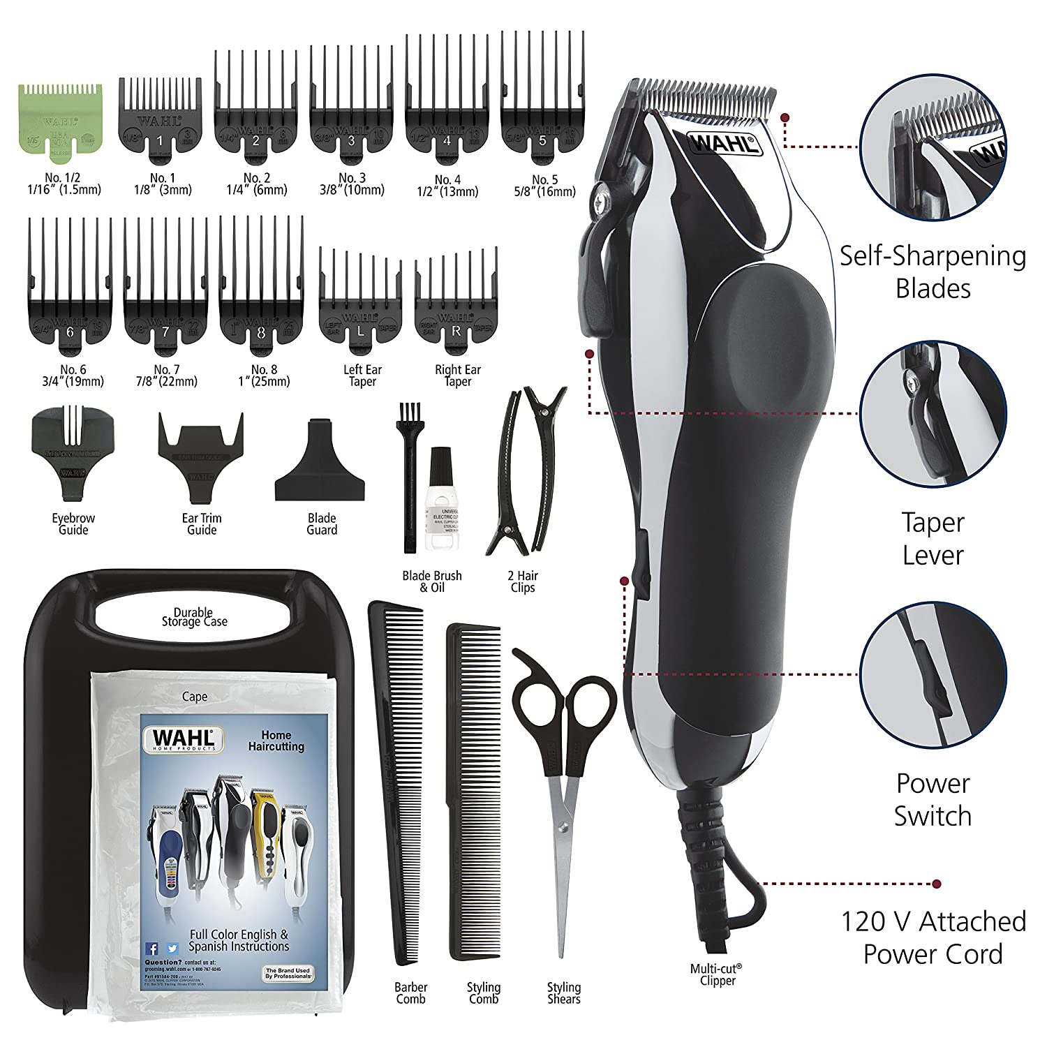 Men's Complete Hair Cutting Kit - Powerful Total Body Clipping Trimming & Grooming
