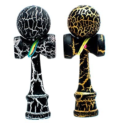 KENDAMA TOY CO. 2-Pack The Best Pocket Kendama (not Full Size) - Fancy Colors: Black/Silver & Black/Gold - Solid Wood - A Tool to Create Better Hand and Eye Coordination: Toys & Games