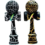 2-PACK - KENDAMA TOY CO. - The Best Pocket Kendama For Tons Of Fun (not full size) - Fancy Colors: Black/Silver and Black/Gold - Solid Wood - A Tool To Create Better Hand And Eye Coordination