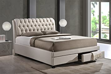 Amazon.com Baxton Studio Ainge Contemporary Button-Tufted Fabric Upholstered Storage Bed with 2 Drawers Queen Light Beige Kitchen u0026 Dining & Amazon.com: Baxton Studio Ainge Contemporary Button-Tufted Fabric ...