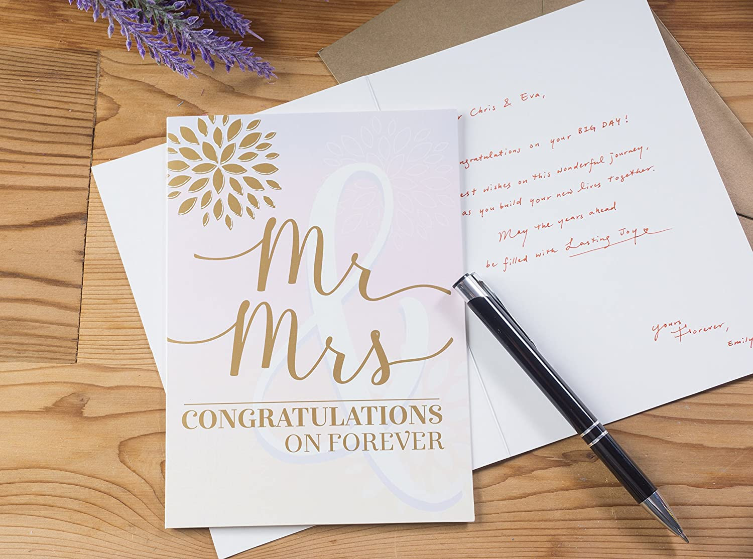 and Mrs Engagement Bride and Groom Wedding Greeting Cards 5 x 7 Inches 36-Pack Congratulations to Newlywed Mr Bridal Shower 6 Rustic Designs Bulk Greeting Cards and Envelopes for Wedding
