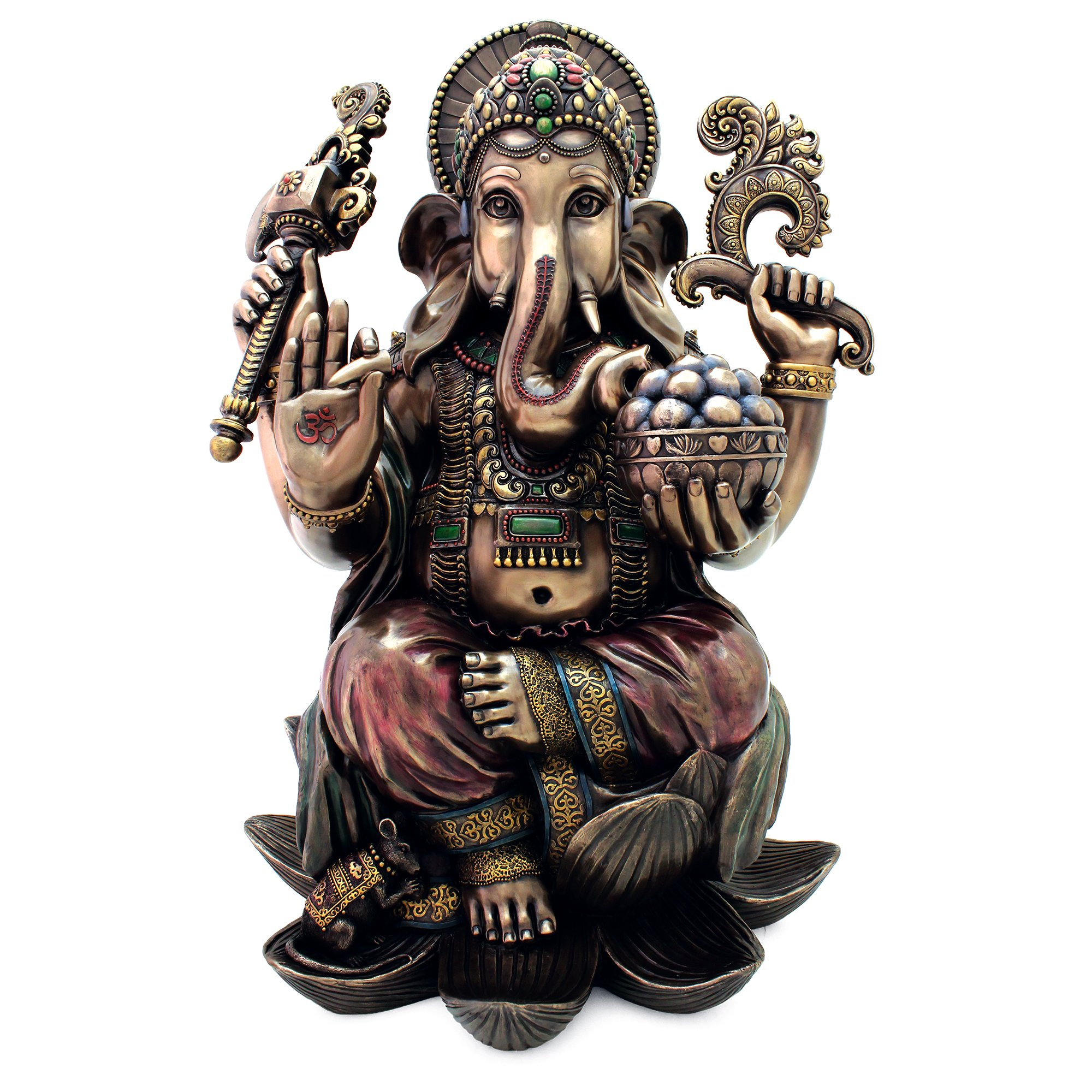 Top Collection 25'' Large Ganesha Statue in Real Bronze Powder Cast - Hindu Sri Ganesh Elephant Lord of Success Museum Sculpture