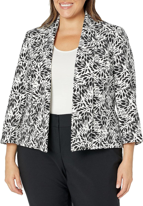 Kasper Women's Sunburst Printed Crepe 2021new shipping free Open Fly Away Jacket Front 25% OFF