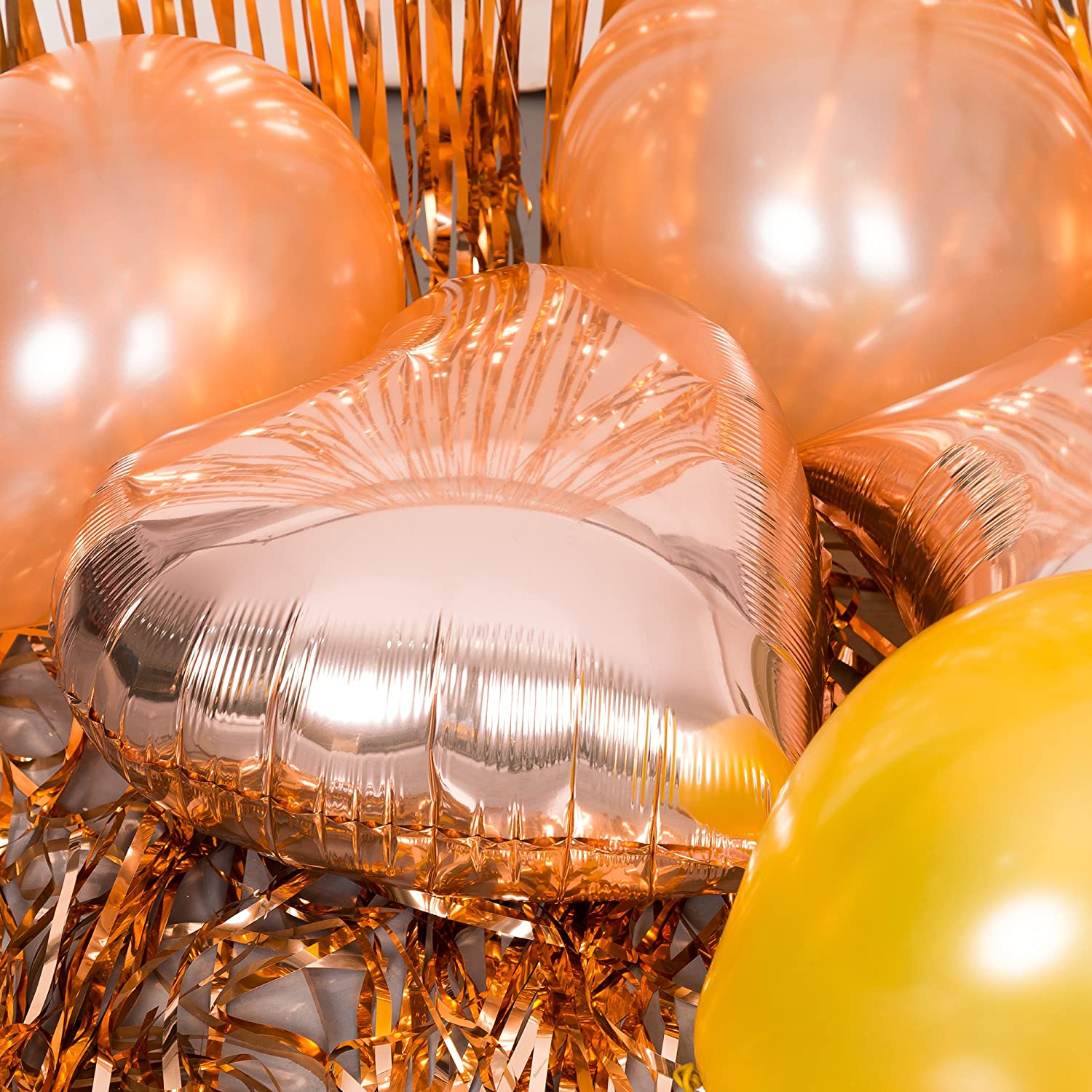 Birthday Decorations Party supplies Kit Rose Gold Happy Birthday Letter Foil Balloons Latex Balloons,Metallic Tinsel Foil Fringe Curtains