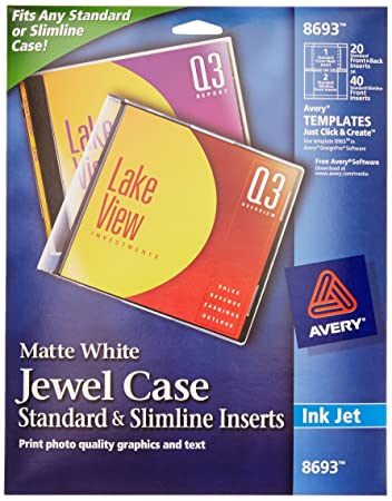 Amazon.com: Avery CD/DVD Jewel Case Inserts for Ink Jet Printers ...