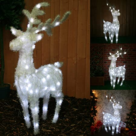 large pre lit reindeer christmas decoration illuminated with 63 white led lights suitable for - Lighted Christmas Reindeer Outdoor Decorations Uk