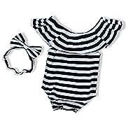Baby Girls Clothes Black White Stripes Romper Bodysuit Bowknot Headband(0-3Months)