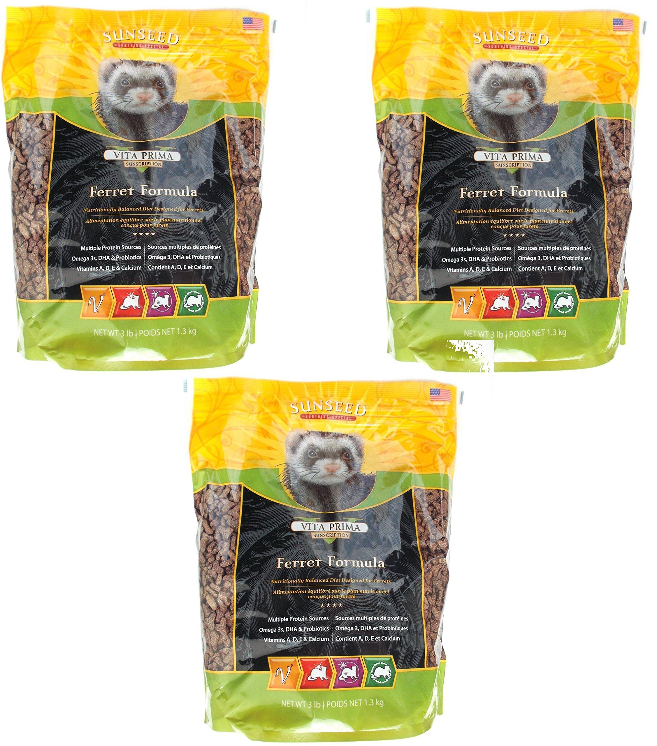 Sunseed Sunscription Vita Prima Ferret Formula, 3-Pound Bag (3 Pack)