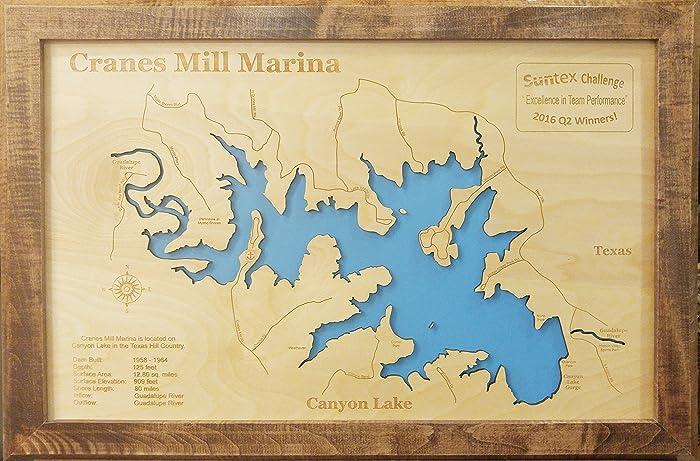 Amazon.com: Canyon Lake, Texas: Framed Wood Map Wall Hanging: Handmade
