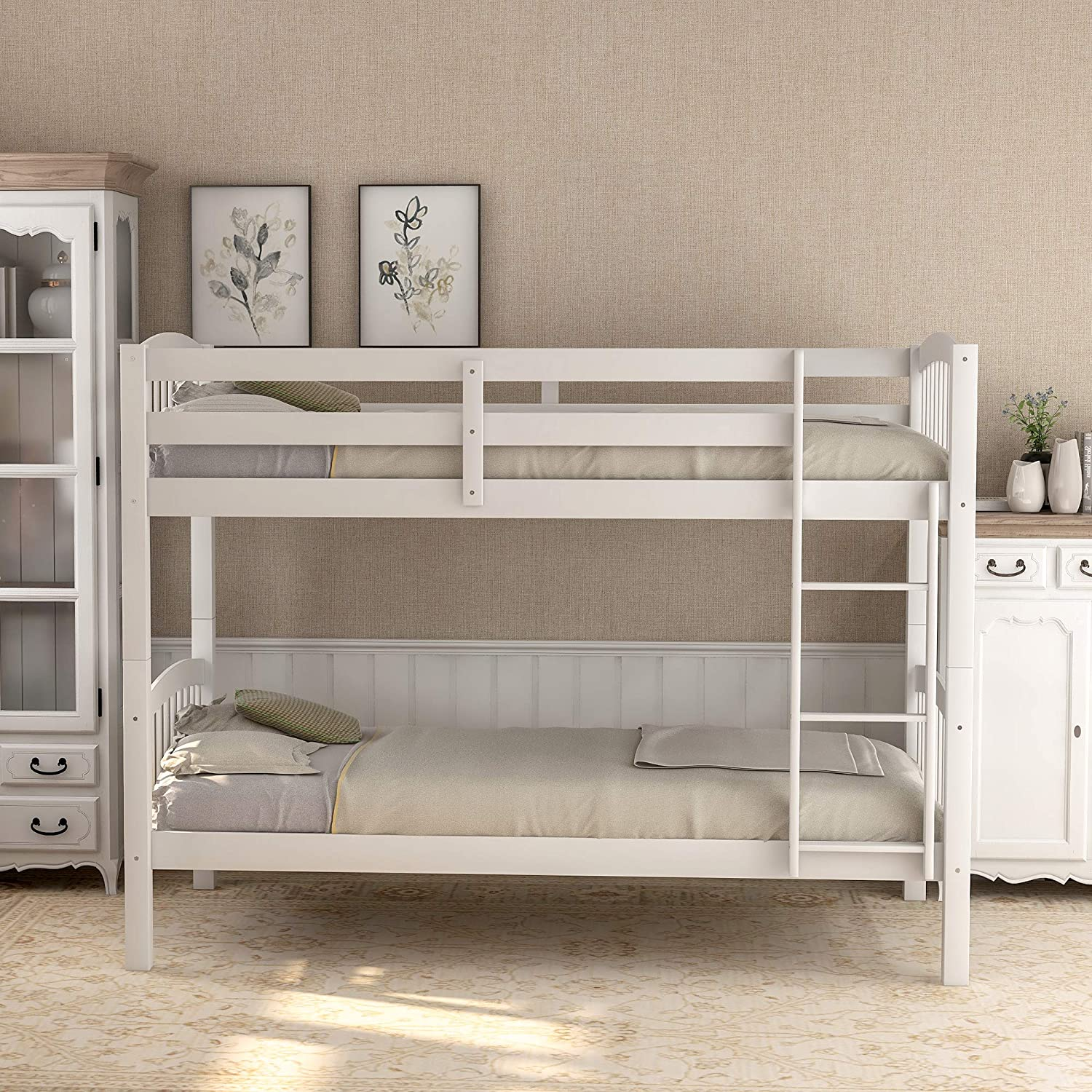 Twin Bunk Bed, Solid Wood Twin Over Twin Bunk Bed Frame with Ladder for Kids, Teens (White)