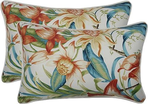 Pillow Perfect Outdoor Indoor Botanical Glow Tiger Lily Lumbar Pillows, 11.5 x 18.5 , Floral, 2 Pack