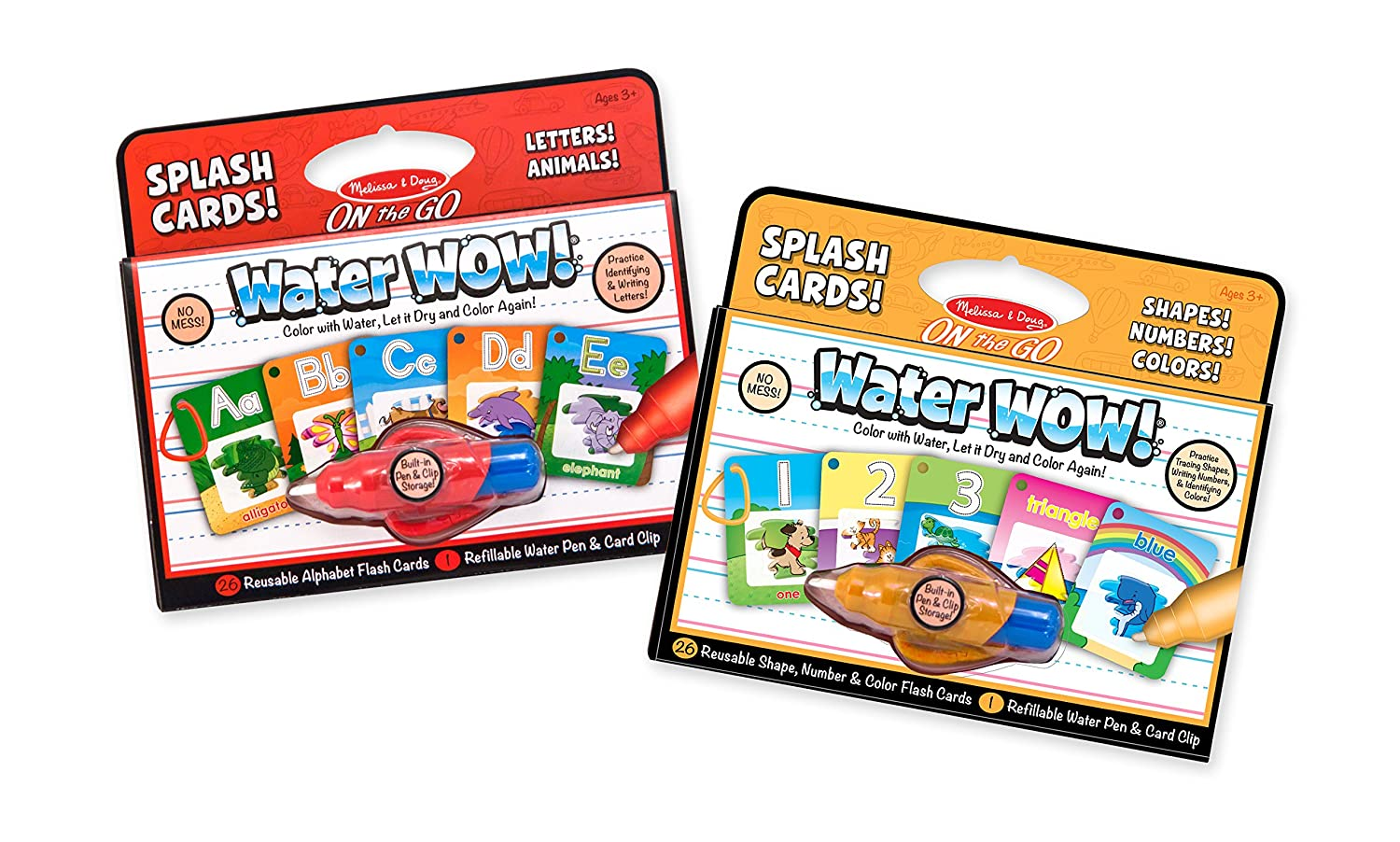 Melissa Doug On the Go Water Wow Reusable Water Reveal Activity Cards 2 pk Alphabet and Shapes Numbers Colors