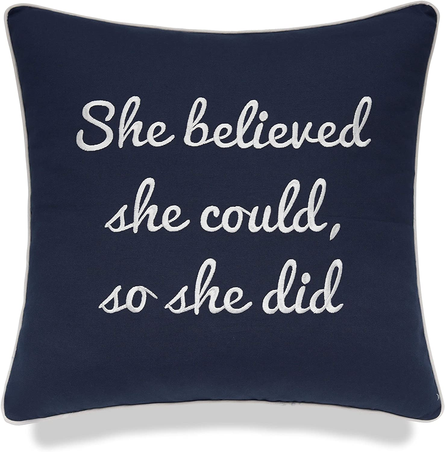 YugTex She Believed She Could So She Did Cotton Embroidered Decorative Square Accent Pillow Cover - Motivational Decor, Graduation Gift - 18x18 Inches, Navy Blue