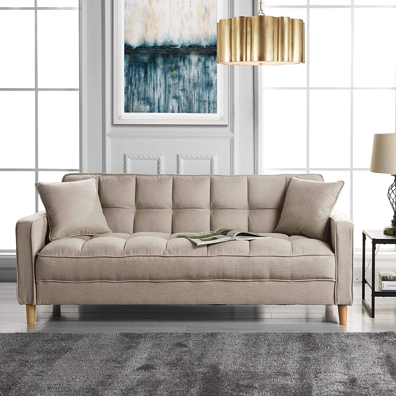 Amazon com modern linen fabric tufted small space living room sofa couch beige kitchen dining