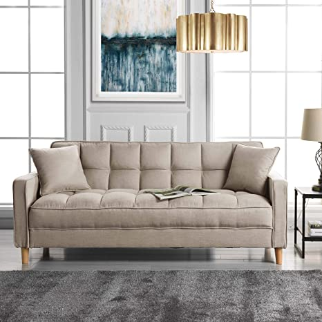 DIVANO ROMA FURNITURE Modern Linen Fabric Tufted Small Space Living Room  Sofa Couch (Beige)