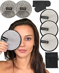 Reusable Makeup Remover Pads & Cloths For Face & Eyes By Ogato - Just Use Water - Washable - EXTRA Large Double-sided Set - Eco-friendly, Suits All Skin Types, FREE Laundry Bag & Makeup Headband