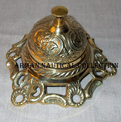 Solid Brass Hotel Counter Desk Bell Antique Style Ring For Service Ding  Bells - Amazon.com: Solid Brass Hotel Counter Desk Bell Antique Style Ring
