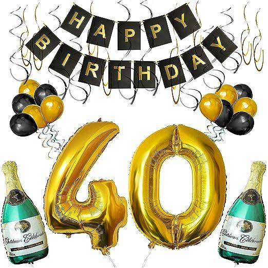 BELLE VOUS Set Decoraciones Fiesta de Cumpleaños Globos 40 y Pancarta Happy Birthday Botellas de Champán Inflables, 40 Dorado de 101,6cm y Globos - ...