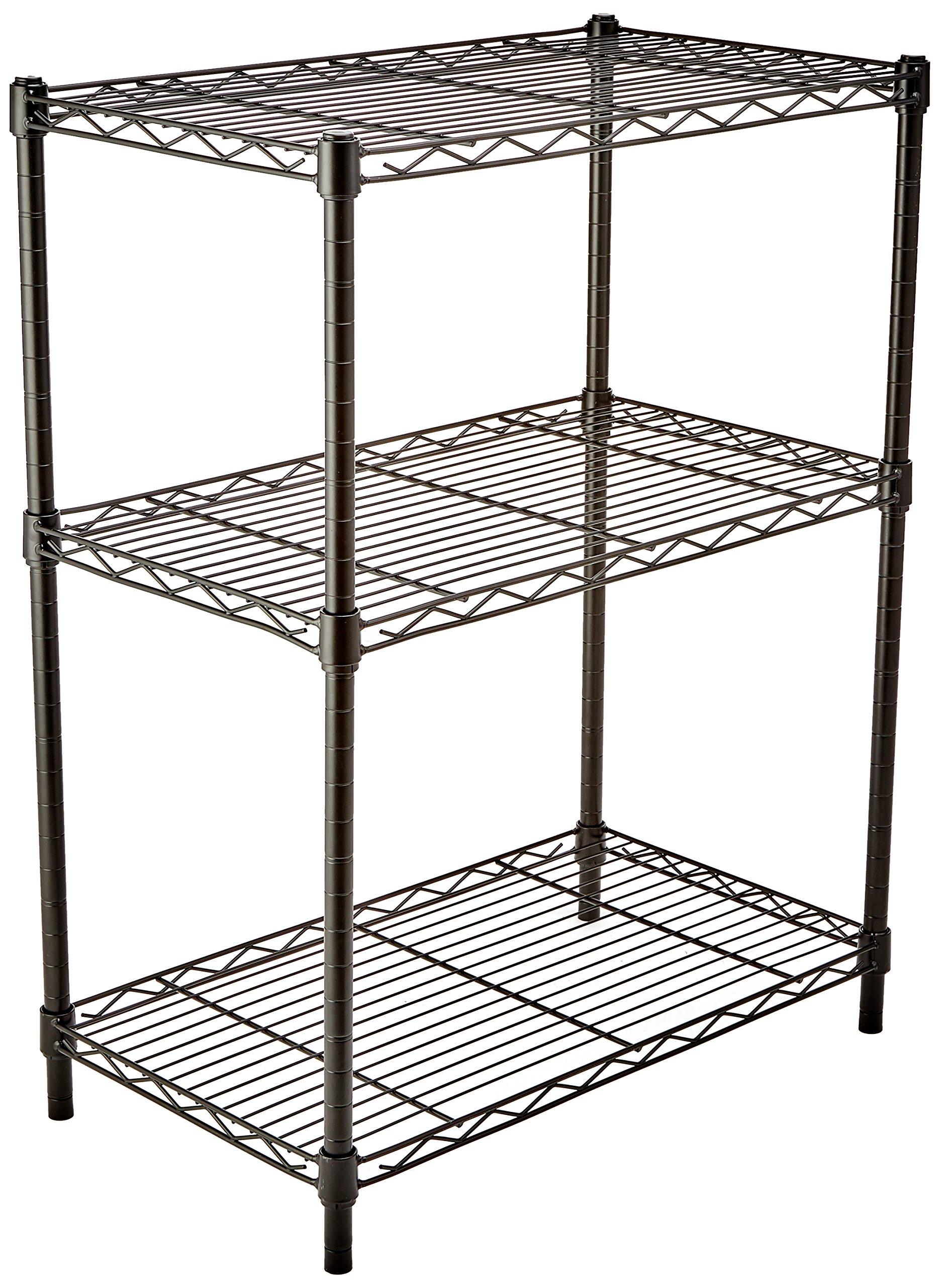 AmazonBasics 3-Shelf Shelving Storage Unit, Metal Organizer Wire Rack, Black by AmazonBasics