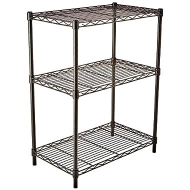 AmazonBasics 3-Shelf Shelving Storage Unit, Metal Organizer Wire Rack, Black