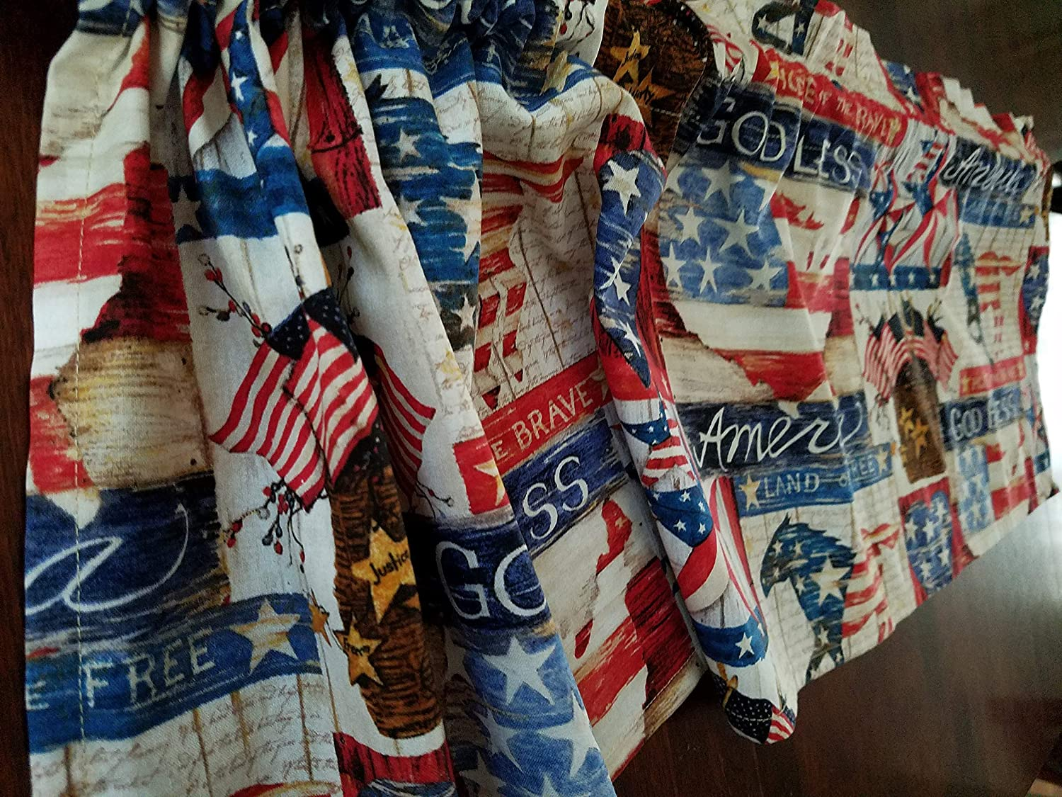 Red Patriotic Curtain Valance Home of the Brave White /& Blue Curtain Valance 41 Inches Wide x 13.5 Inches Long