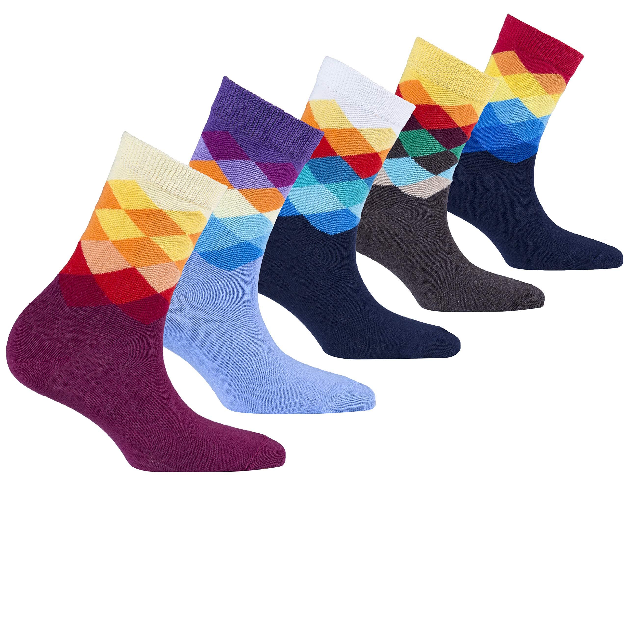 Socks n Socks-Kids 5-pair Fun Cool Cotton Colorful Diamond Socks Gift Box-Large