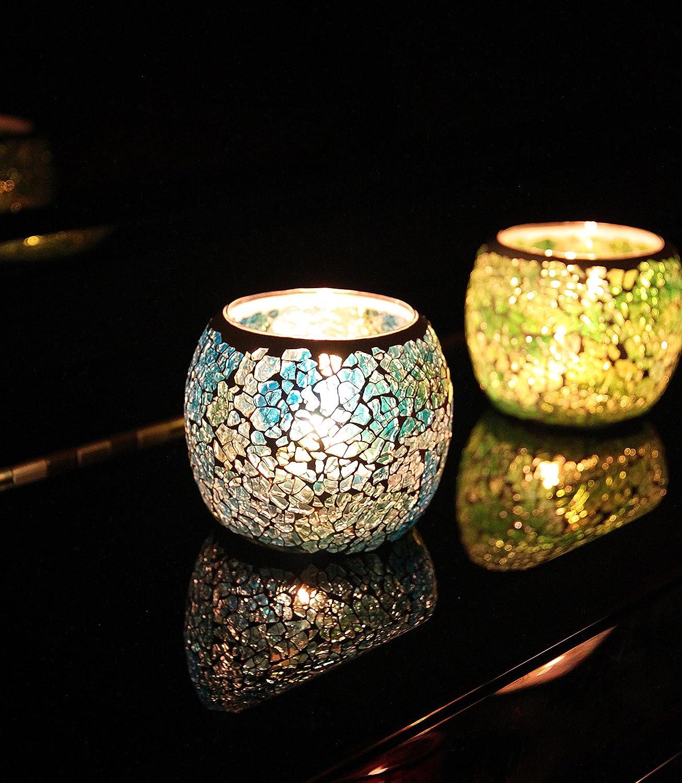 fiesta portavelas rom/ántico boda para decoraci/ón del hogar azul hecho a mano vintage regalo Portavelas de cristal con mosaico