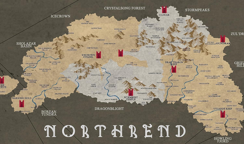 Marco no incluido Mapa de la impresi/ón de Azeroth Cartel de World of Warcraft P/óster // impresi/ón Jugador alternativo // Gaming Prints en varios tama/ños