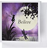 3dRose Believe, Fairy With Dragonflies With Moon And Purple Sky - Greeting Cards, 6 x 6 inches, set of 12 (gc_35696_2)
