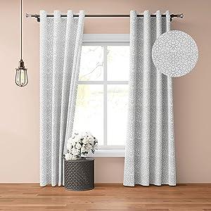 Drapery Bazaar Linen Blended Window Curtain Panels Light Reducing for Living Room, Steel Grommet Top Linen texrured Grey Drapes (52 by 84 Inch, Set of 2)