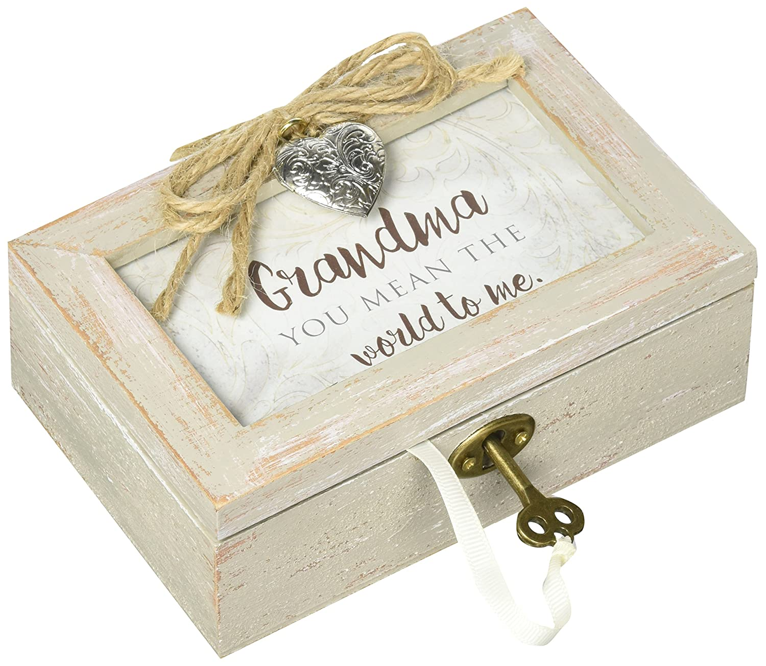 Cottage Garden Grandma You Mean The World Distressed Wood Locket Jewelry Music Box Plays Tune Wind Beneath My Wings
