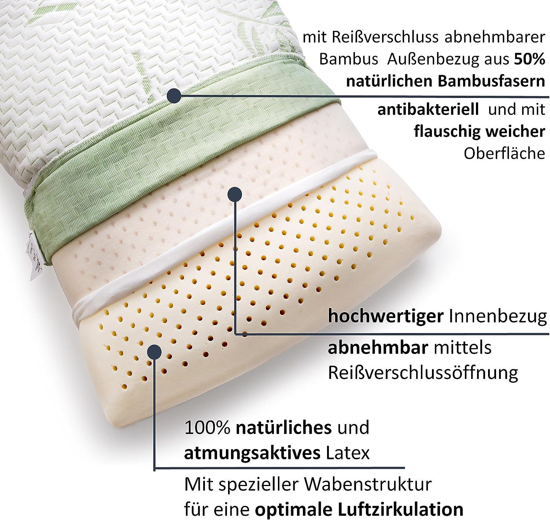 50/% Nackenst/ützkissen + 2 GRATIS Bambusfaser Kissenbez/üge, Nackenkissen aus 100/% naturelastischen Latex, Kopfkissen 40x80cm /– mit diesem Kopfkissen Nackenschmerzen besiegen. Paraboo Blitzaktion