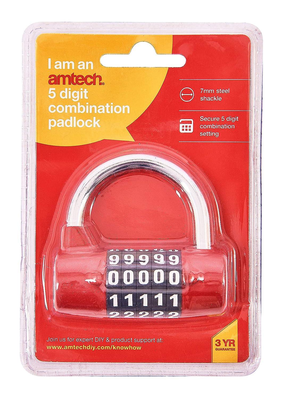 Am-Tech T1144 Candado de combinaci/ón de 5 d/ígitos