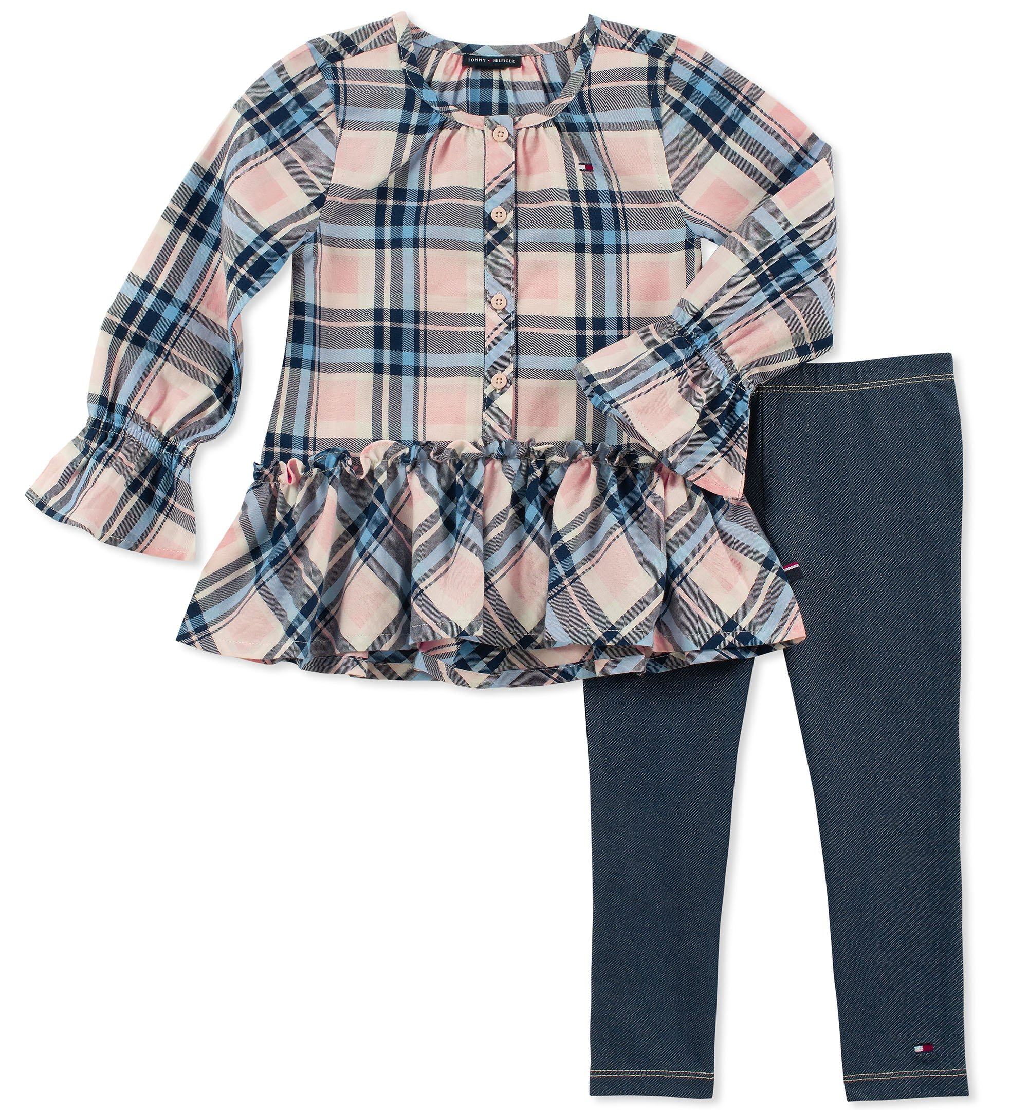Tommy Hilfiger Girls' Toddler 2 Pieces Tunic Pants Set, Plaid Pink/Blue, 4T