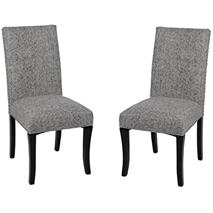 Armen Living LCDESIAS Deborah Dining Chair Set of 2 in Ash Fabric and Black Wood Finish