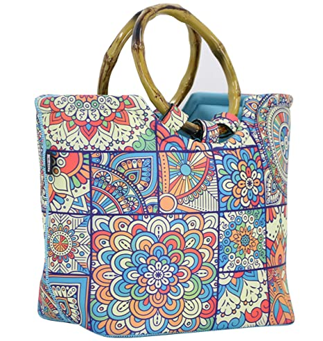 2eae807d0861 Lunch Bag Tote Bag by QOGiR - Large Reusable Insulated Neoprene lunch Bag  with Inside Pocket - Perfect for Women Girls (Colorful)