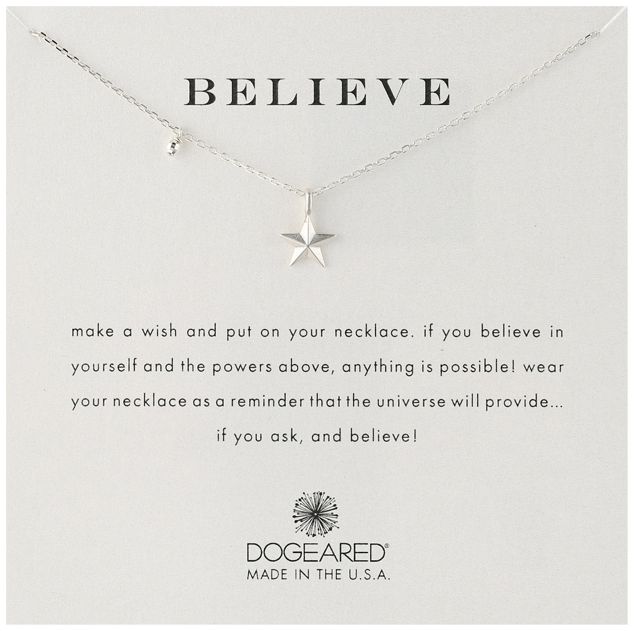 Dogeared Believe' Nautical Star Charm Bead Sterling Silver Chain Necklace