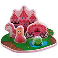 Princess Bath Toy - 7 Piece Foam Set With Storage Bag/Organizer/Holder - Educational Toy For Kids - Bathtub Fun