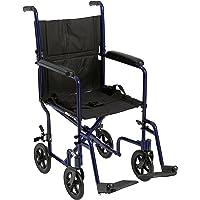 "Lightweight Transport Wheelchair, 19"" Seat, Blue"