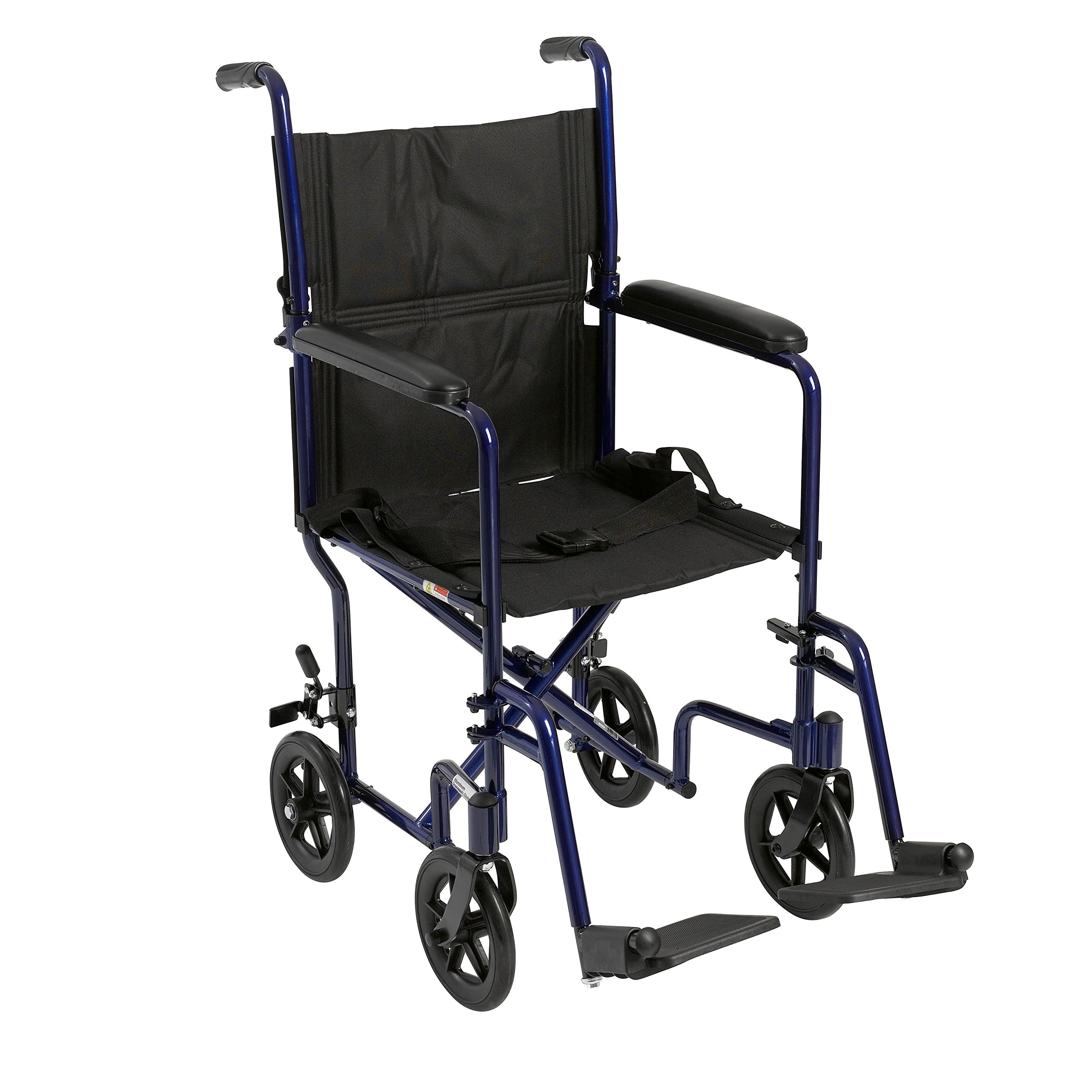 Drive Medical Aluminum Transport Chair, 19'', Blue by Drive Medical