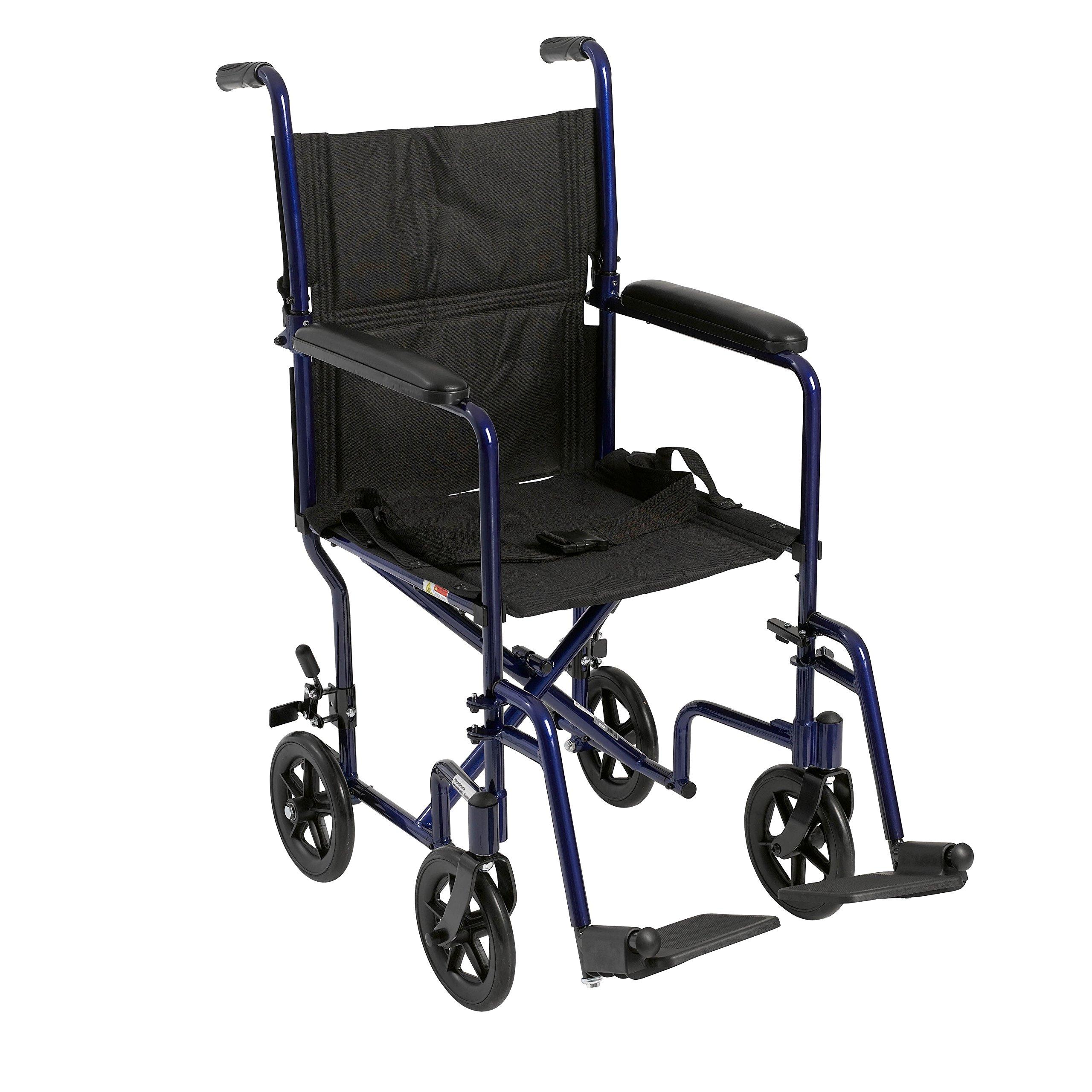 Drive Medical Aluminum Transport Chair, 19'', Blue