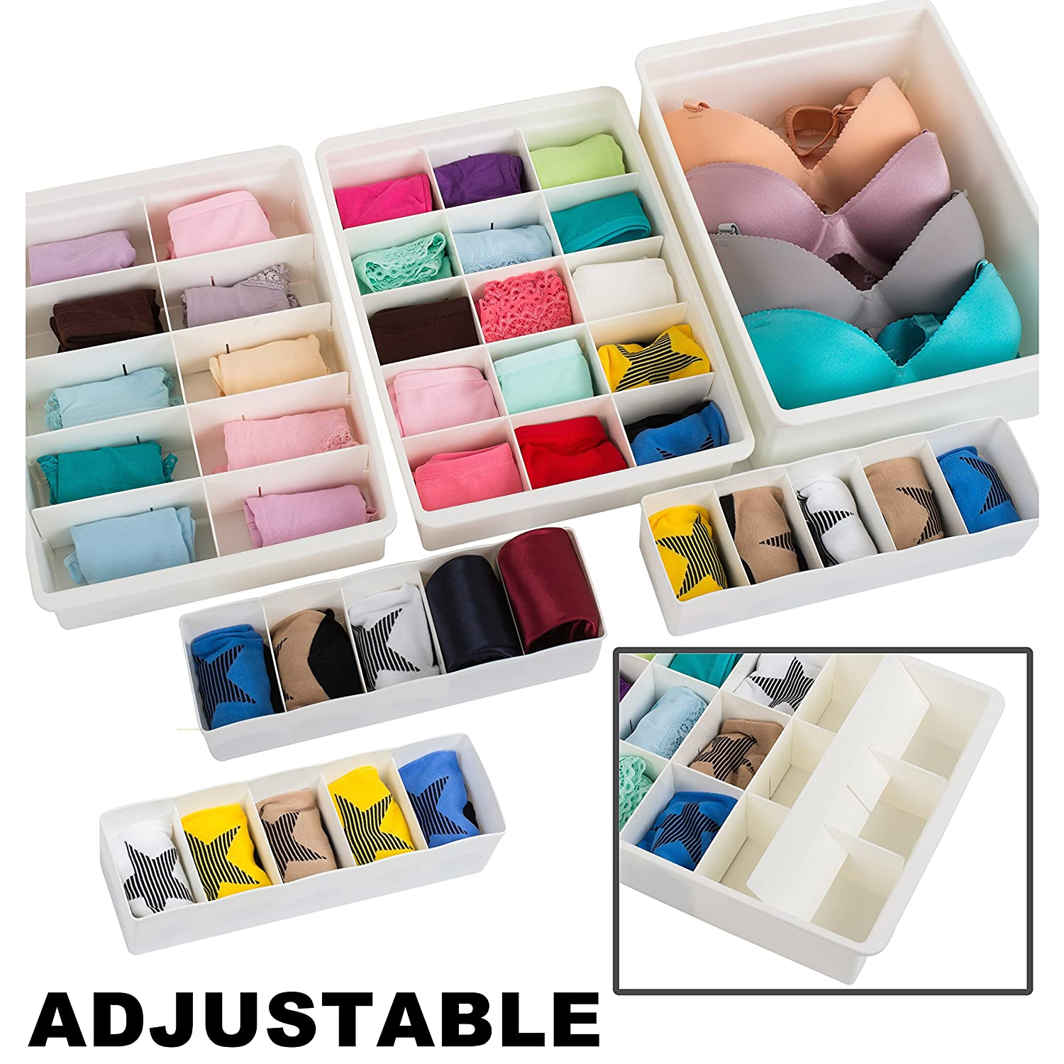 Uncluttered Designs Adjustable Drawer Organizers (6 Set) with Customizable Dividers in Stackable Durable Plastic for Underwear Crafts Baby Clothes ...